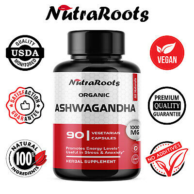 Organic Ashwagandha Root Pure Powder 1000mg Capsules - Sexual Energy Booster