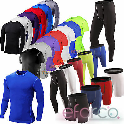 Men Boy Compression Thermal Under Fitness Top Tee Shorts Long Pants Sport Clothe