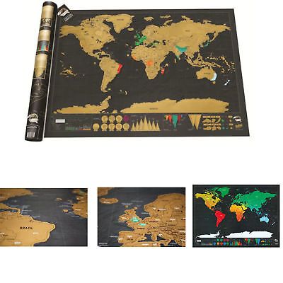 Large Scratch Off World Map Deluxe Edition Travel Log Journal Poster Wall Decor.