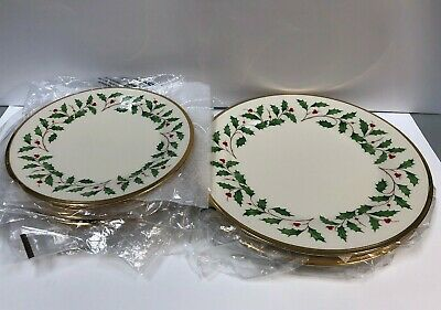 8pc Lenox Holiday Ivory Bone China Dinner Plates 24-Karat Gold Trim Dinnerware