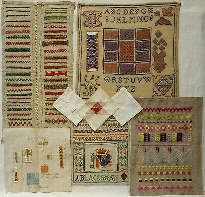 A SELECTION OF EARLY/MID 20TH CENTURY DARNING/STITCHING SAMPLERS - c.1910 - 1945