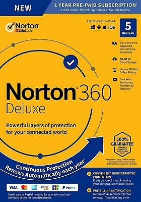 Norton 360 Deluxe 2020 5 Devices 5 PC 1 Yr Secure VPN Internet Security 2019 Box