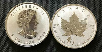 One Ounce .9999 Fine Silver - 2016 $5 Canadian Maple Leaf Bigfoot Privy