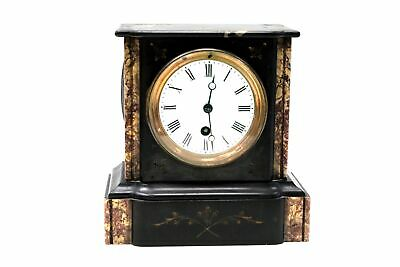 Vintage 'JJS' Stamped Marble & Slate Mantel Clock WORKING W/ Key UNBOXED - C91