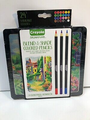Crayola Signature Blend & Shade Colored Pencils- Set of 24 Colors Pencils in Tin