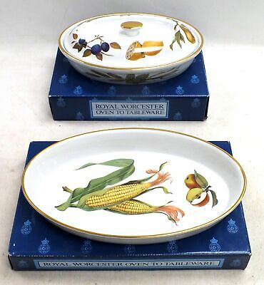 Pair Of ROYAL WORCESTER Oven To Tableware EVESHAM GOLD Oval Lid Dish BOXED - D40