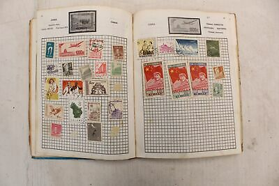 ACE Pony Express STAMP ALBUM w/  Approx 50 Mixed Vintage STAMPS - B46