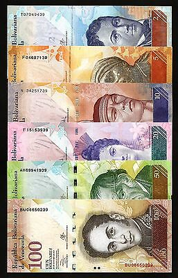 VENEZUELA UNC 6 PCS SET 2-5-10-20-50-100 BOLIVARES  P-88 to 93 LAST TWO S/N SAME