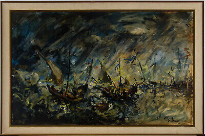 Thomas O'Donnell - Large Mid 20th Century Oil, Ships Caught in Rough Seas
