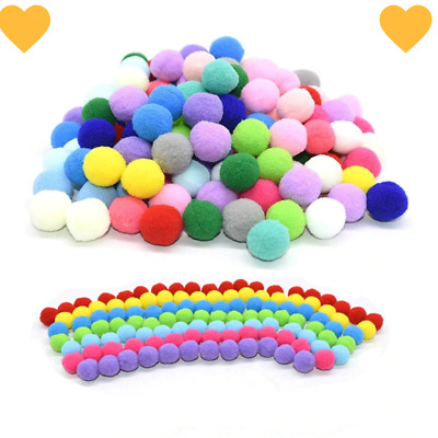 100Pcs 15/20/25mm Fluffy Soft Pompom Balls Handmade Kids Toys Wedding Decoration