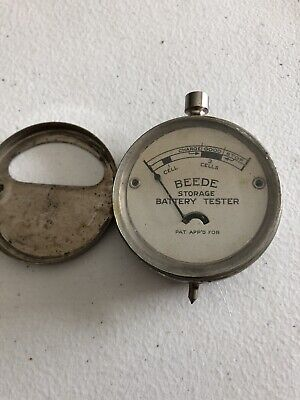 Vintage Beede Pocket Volt Meter Battery Storage Tester Guage Chrome Antique
