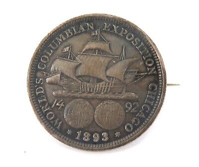 1893 Columbian Columbia Expo, Chicago Silver Half Dollar Brooch.