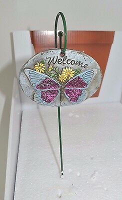 """Pot Stake Pick 11.5"""" H Welcome Butterfly Flower Sign Yard Garden Stone #457"""