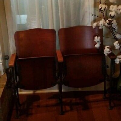 Folding Chairs Set Metal Vintage Antique DFW Waiting Room Theater Stadium Seats