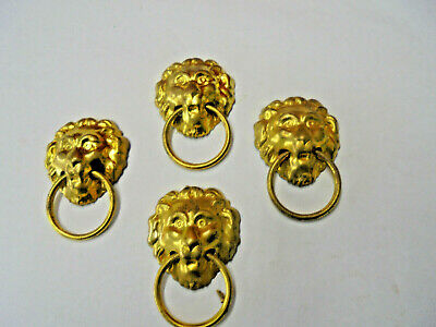 Set of 4 Brass Lion's Head With Ring Case Applications