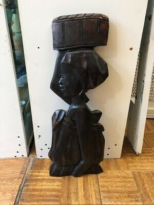 Vintage Large Mid Century Modern Carved Wood African Mother And Child