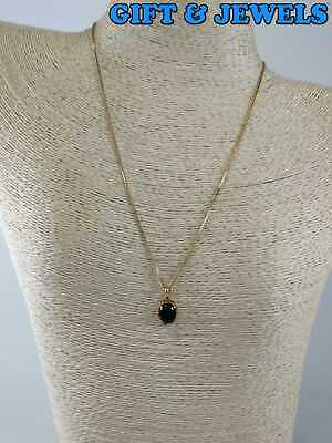 """UTC SIGNED GOLD-PLATED STERLING SILVER 925 NECKLACE 18"""" BLACK ONYX 4.0 G #ap537"""