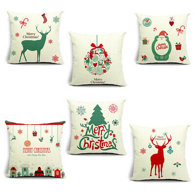 18 inch Christmas Cushion Cover Santa Claus Xmas Deer Pattern Square Pillow Case