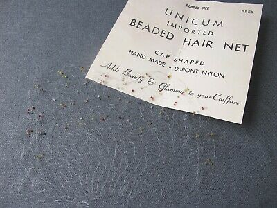 Vintage hand made colors glass beads hair net unused cardboard bobbed size grey