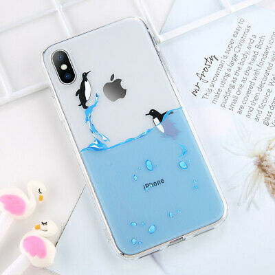 Phone Case For iPhone 8 Cute Transparent TPU Crystal Clear Silicone Soft Cover