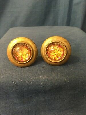 Pair Antique Curtain Tie Backs With Glass Inserts