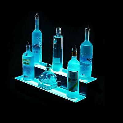 "SUNCOO Tier LED Lighted Back Bar Glowing Liquor Bottle Display Shelf  16"" 2 Step"