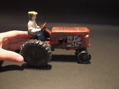 Antique Vintage Style Cast Iron Red Farm Tractor Toy Car