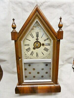 lovely antique steeple alarm clock Uhrenfabrik Teutonia P.H.& S restored 1860s