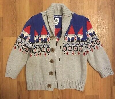 Baby Gap Boys Cardigan Button Down Gnome Sweater Size 18-24 Months EUC