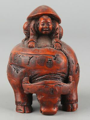 Chinese Exquisite Hand-carved Cattle child carving Bamboo root statue