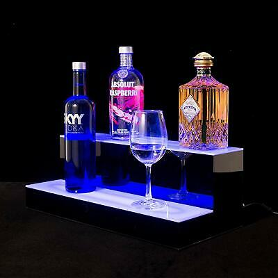"SUNCOO Tier LED Lighted Back Bar Glowing Liquor Bottle Display Shelf 20"" 2 Step"