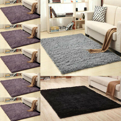 Large Shaggy Floor Rug Sienna Plain Soft Sparkle Area Mat 5cm Thick Pile Glitter