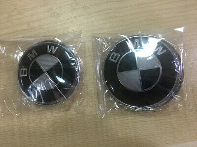 2 PCS BMW Carbon Fiber Emblem 82mm Hood Badge Logo & 74mm Trunk Emblem 2 Pins