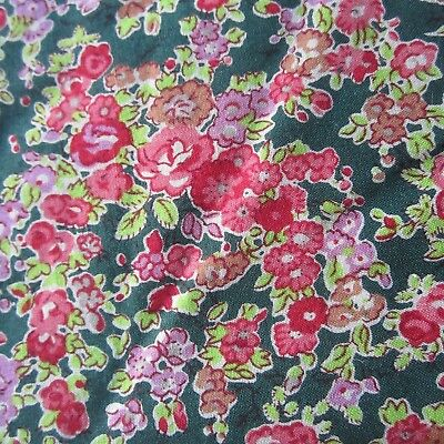 50cm x 115cm Green Pink Miniature Floral Vintage Cotton sewing Fabric 1980s New