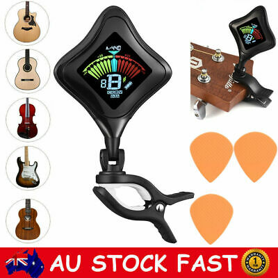 Chromatic Clip-on Guitar Tuner Violin Ukulele Bass Rechargeable Electric Program