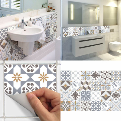 Ambiance Azulejos Imitation Cement Stick-On Wall Tiles, 15 x 15 cm, 24 Pieces