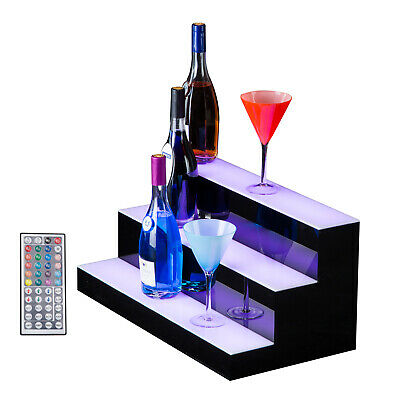 "SUNCOO 24"" 3 Step Tier LED Lighted Back Bar Glowing Liquor Bottle Display Shelf"