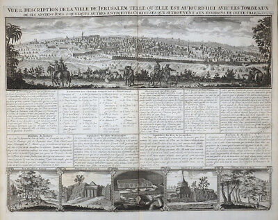 Vue & Description De La Ville De Jerusalem Atlas Historique Chatelain 1719 #59
