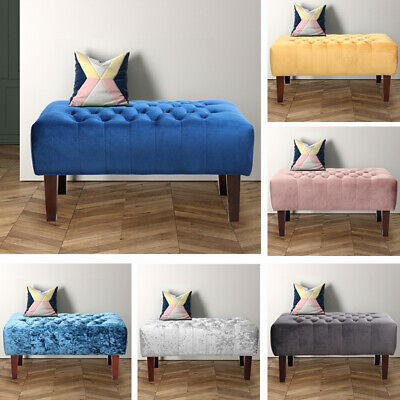 Velvet Buttoned Chesterfield Footstool Soft Tufted Ottoman Bench Home Furniture