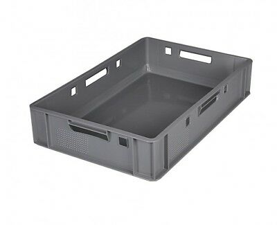 5x Euro Meat Box Grey E1 Butcher's Box Meat Box Stacking Crates Meat Tray