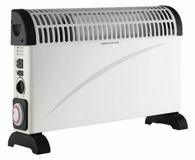 2000W Adjustable Convector Heater Radiator Electric Turbo Timer Triple Hot White
