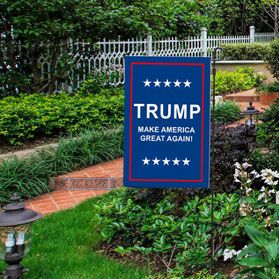 Trump 2020 Garden Flag Double Sided Keep America Great Yard Decor Sign Support.