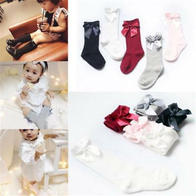 Baby Toddler Girls Knee High Long Socks Bow Cotton Casual Stockings 0-4 Years LC