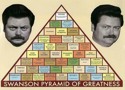 New - Ron Swanson Pyramid of Greatness Parks and Rec TV Art Poster Print 24 x 36