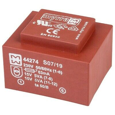 Myrra 44274 EI48 Encapsulated PCB Transformer 230V 10VA 0-15V 0-15V