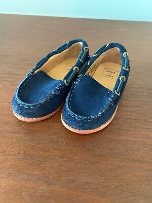 janie and jack baby boy toddler blue suade lofers size 3/4