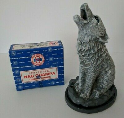 Howling Wolf Incense Cone Holder and Nag Champa Incense Cones NEW