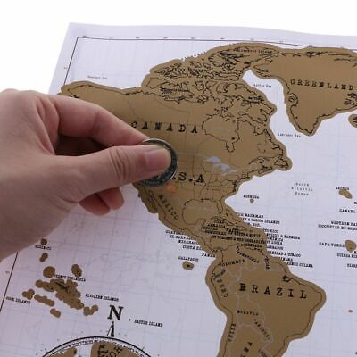Personalized Scratch Off World Map Deluxe Journal Travel Atlas Poster Novelty