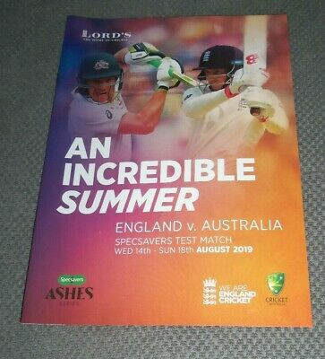 ENGLAND V AUSTRALIA 2ND ASHES TEST MATCH LORDS 14-18 AUGUST 2019 Guide NEW