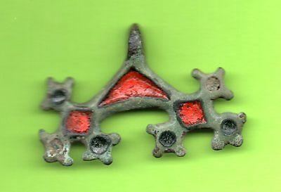 Ancient Enamel Bronze Pendant Ukraine ca 4-6 th Kiev Culture 711